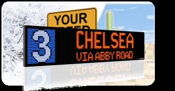 monochrome bus destination sign